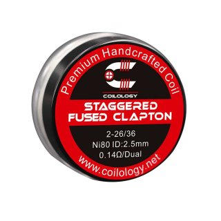 Coilology handgefertigte Staggered Fused Clapton Ni80 Coils 0,14 Ohm 2 Stk